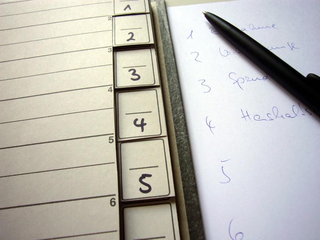 Grundlage für die Inhaltsangabe Ihres themenbezogenen Ordners ist Ihre Liste.