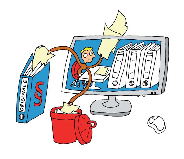 Papierloses Büro und digital ablegen